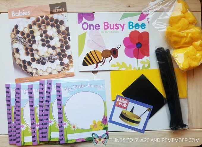 Lesson 3 - bees and butterflies theme - babies - One Busy Bee book, bee headband craft, My Little Journals for preschoolers