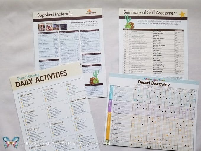 Teacher reference materials including supplied materials, summary of skill assessment, daily activities calendar