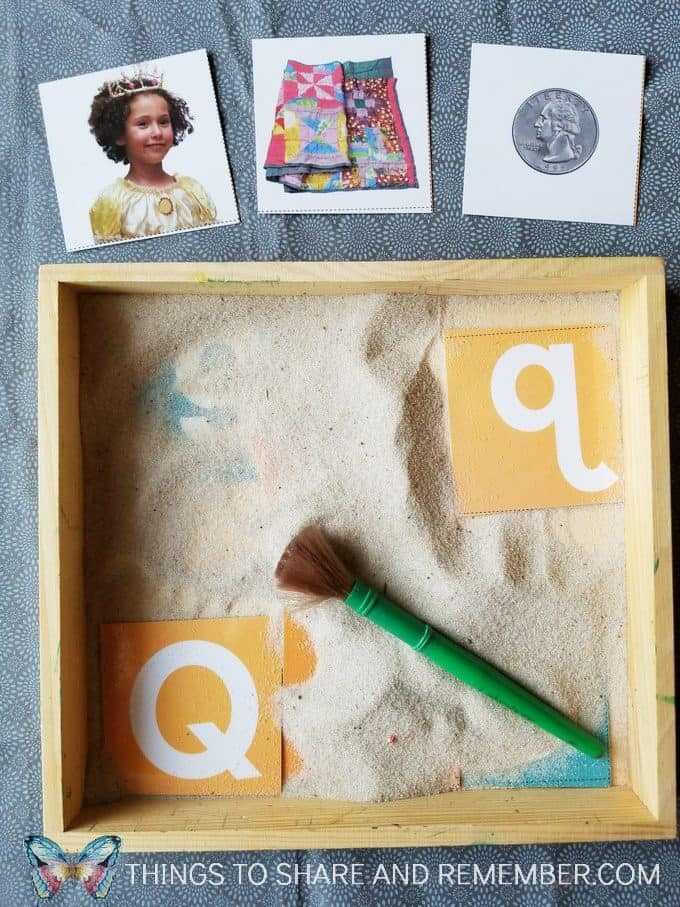 Pouring Sand Tabletop Literacy activity matching letters with Mother Goose Time measuring and pouring preschool activities
