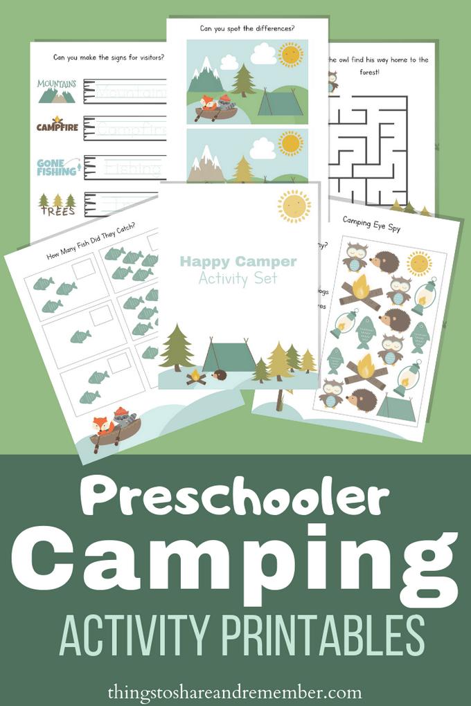 Let's Go Camping Preschool Printables