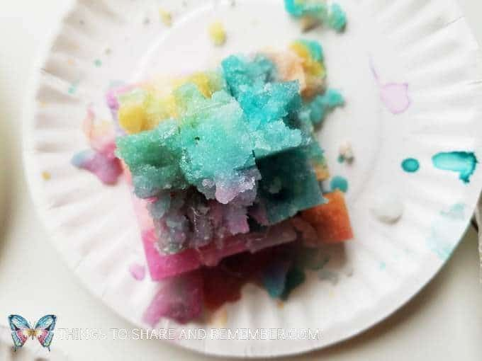 Rainbow Sugar Cube Pyramids painted with liquid watercolors