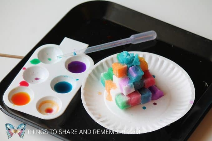 sugar cube painting with liquid watercolors