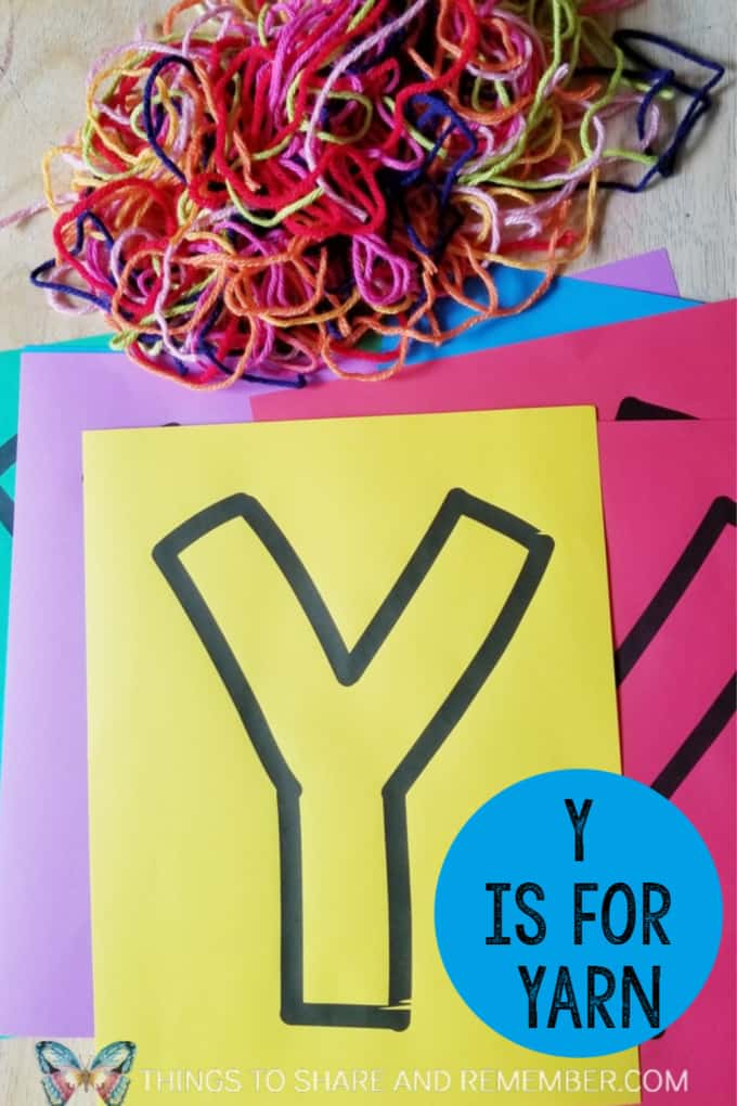 Y is for Yarn preschool literacy activity with printable template