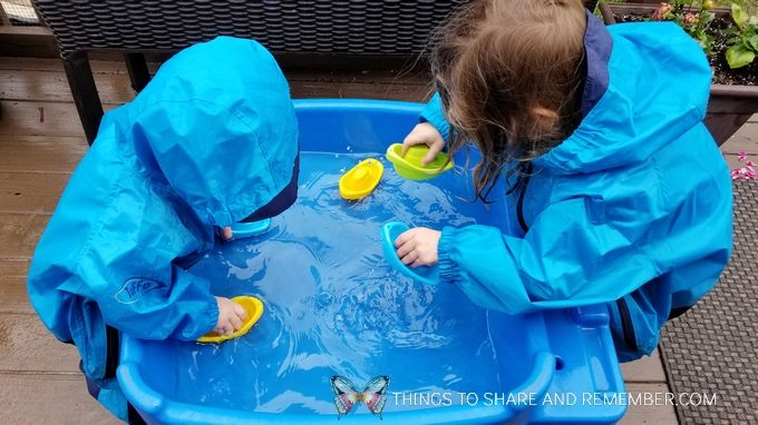 Floating boats in the sensory table  preschool activity bubbles and boats