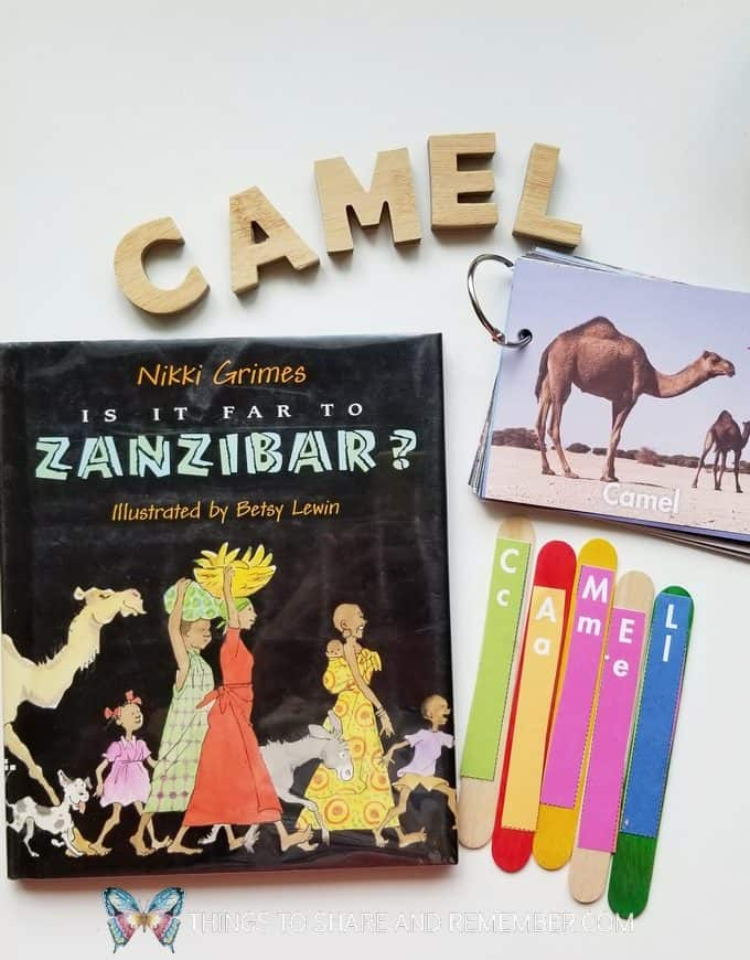 C is for camel and is it far to Zanzibar? book, craft sticks spelling camel