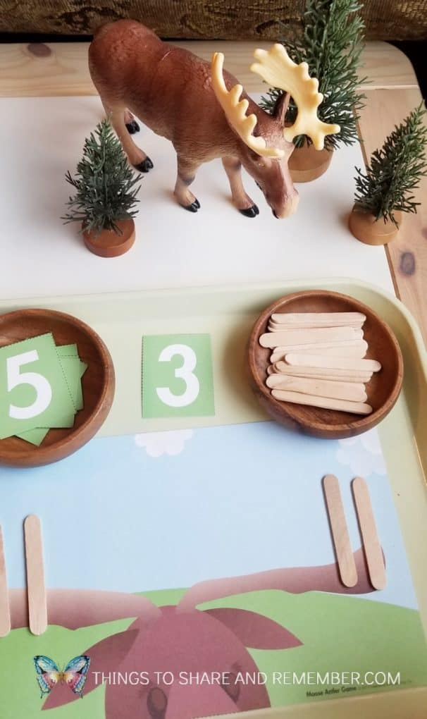 Moose Antler Table Top Math Game for preschoolers