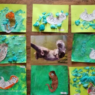 O is for Otter Swimming preschool art
