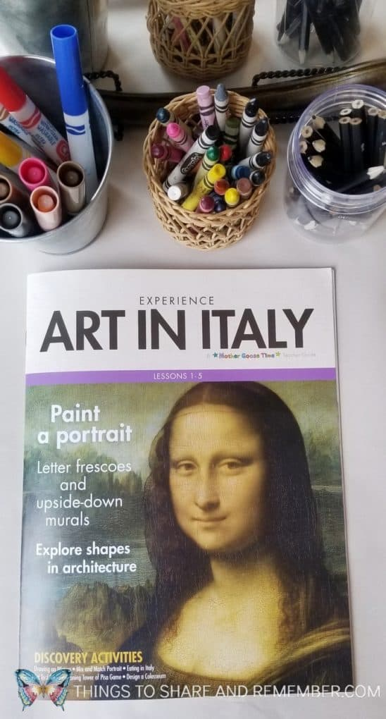 Art in Italy Self Portrait Center for preschoolers - Art Studio theme from Mother Goose Time