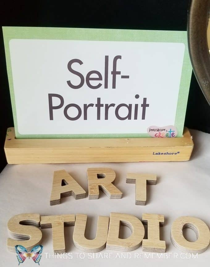 Self Portrait Center for preschoolers - Art Studio theme from Mother Goose Time