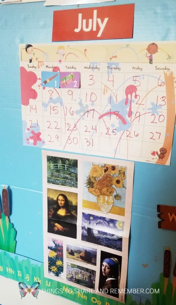 July calendar and theme poster form Mother Goose Time Art Studio theme
