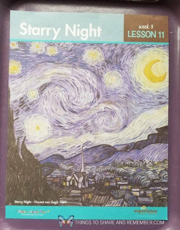 Starry NIght Lesson 11 from Mother Goose Time's Art Studio Preschool Curriculum | Starry Night Door Hanger