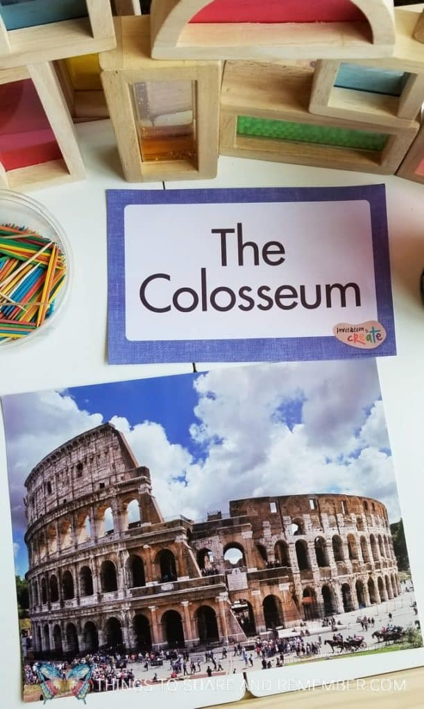 The Colosseum Invitation to Create from Mother Goose Time Art Studio theme