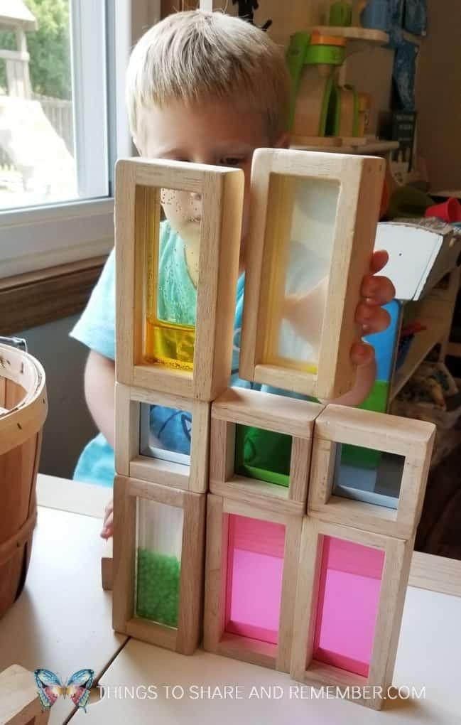 building structures with blocks in preschool
