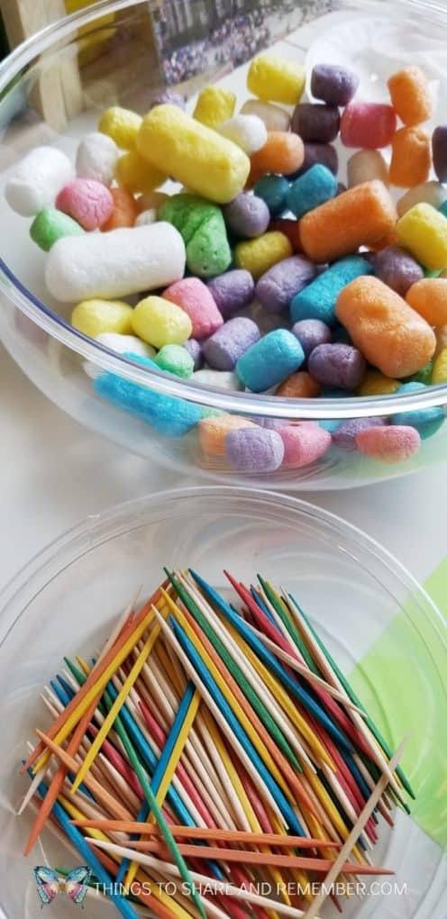 starch noodles and colored toothpicks STEAM building activity for preschoolers