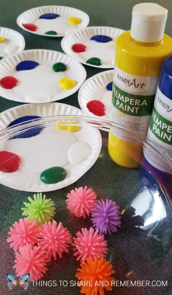 Handy Art Tempera Paints on paper plates preschool art