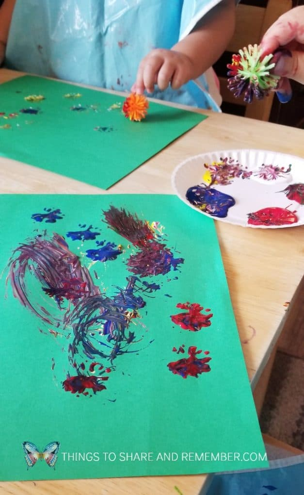 painting with pokey balls Monet's Flowers | Art Studio | Mother Goose Time