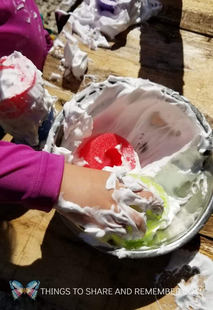 bowl of shaving cream sensory play