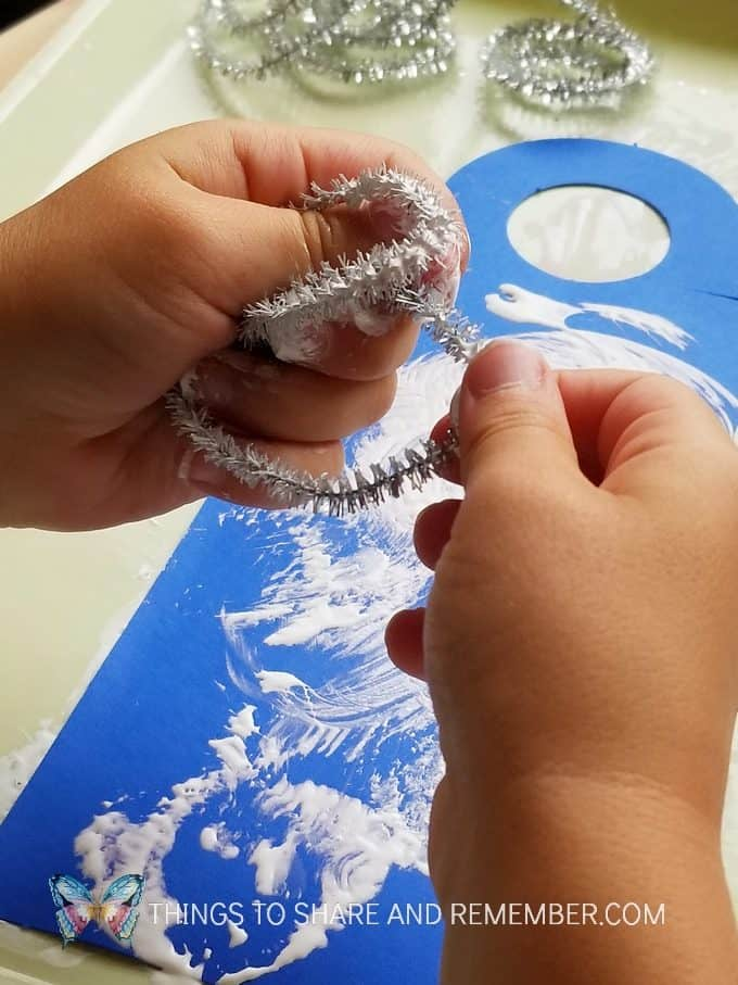 painting with pipecleaners Starry Night Door Hanger Make & Play Activity Art Studio - Mother Goose Time Preschool Curriculum
