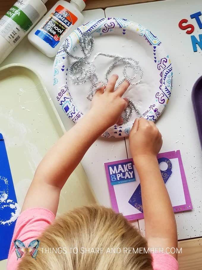 paint and glue painting with pipecleaners Starry Night Door Hanger Make & Play Activity Art Studio - Mother Goose Time Preschool Curriculum