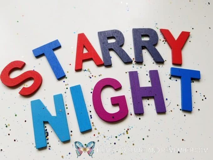 starry night letters and glitter