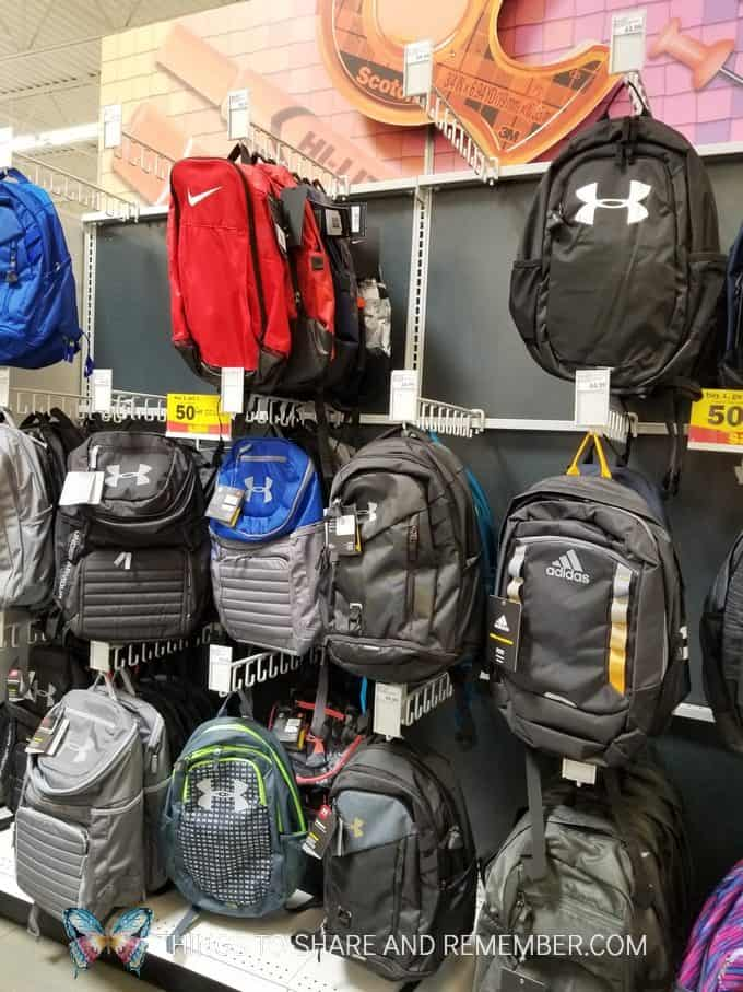 Backpacks at Meijer store back to school sale 2