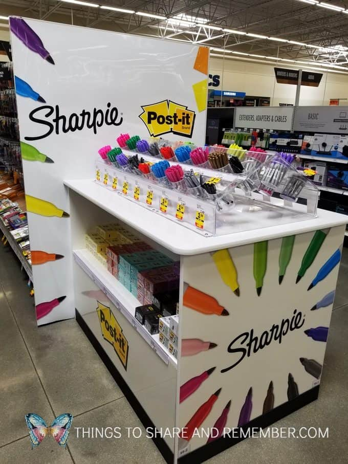 Sharpies and Post it Notes bar at Meijer Store