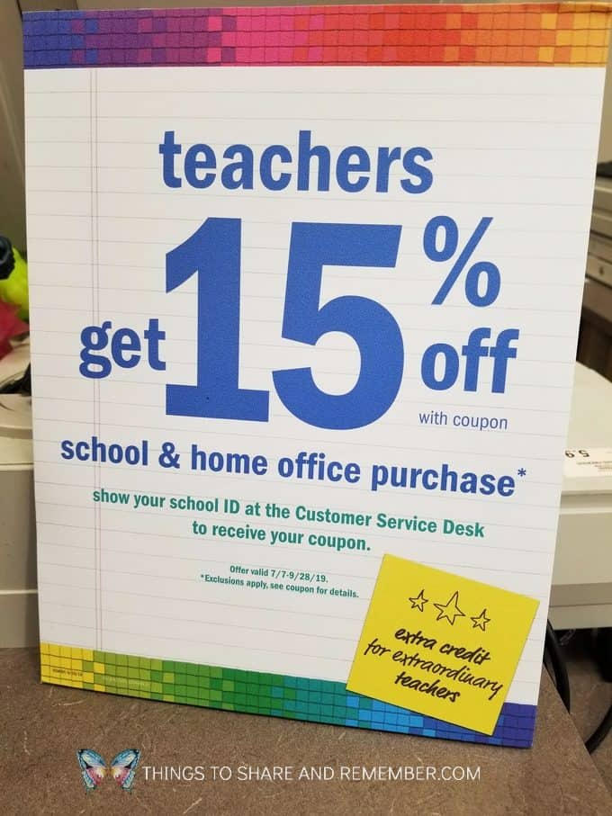 teacher discount at Meijer store sign