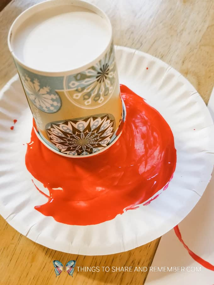 Colors and Shapes: Red Circles Preschool Shape Activities with Mother Goose Preschool Curriculum paint circles with a cup