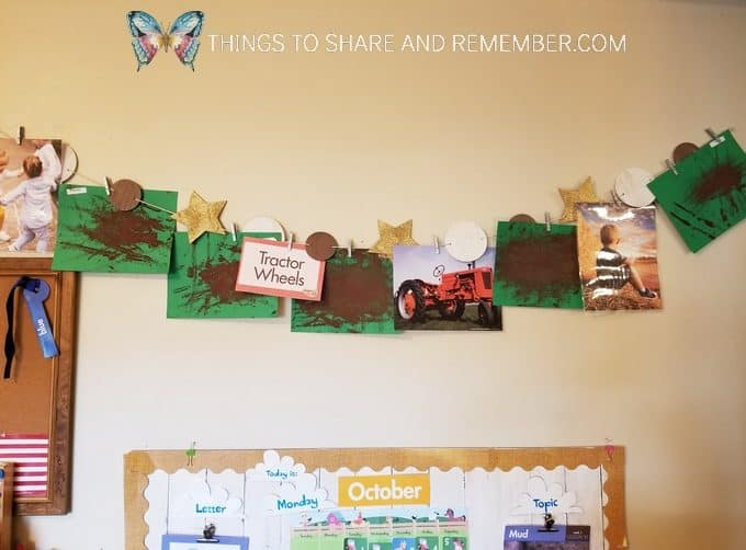 tractor wheels preschool art display