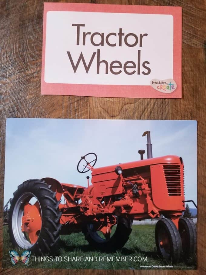 Tractor Wheel prints preschool farm process art