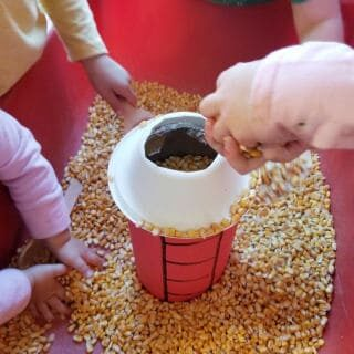 Fill the Silo Sensory Bin activity