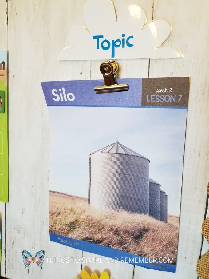 Daily Topic Poster for Silo | Experience Preschool Curriculum | Down on the Farm preschool theme