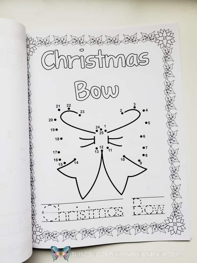 Christmas bow connect the dots printable