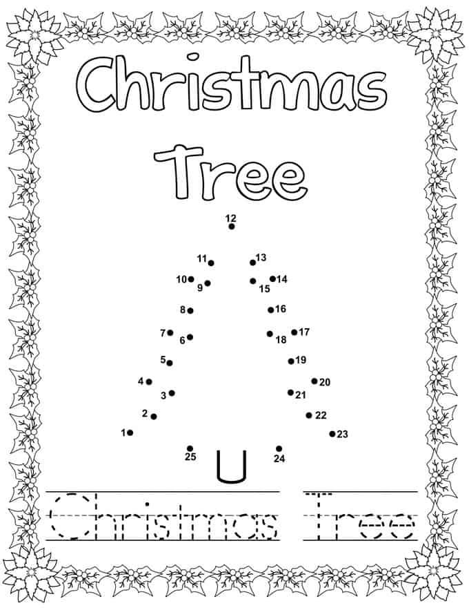 Christmas Connect Dots Coloring Book -Christmas Tree