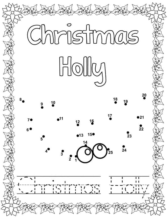 Coloring Book -Christmas Holly