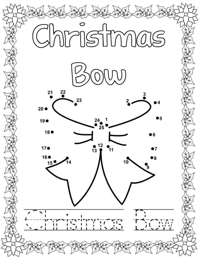 Christmas Connect Dots Coloring Book -Christmas Bow