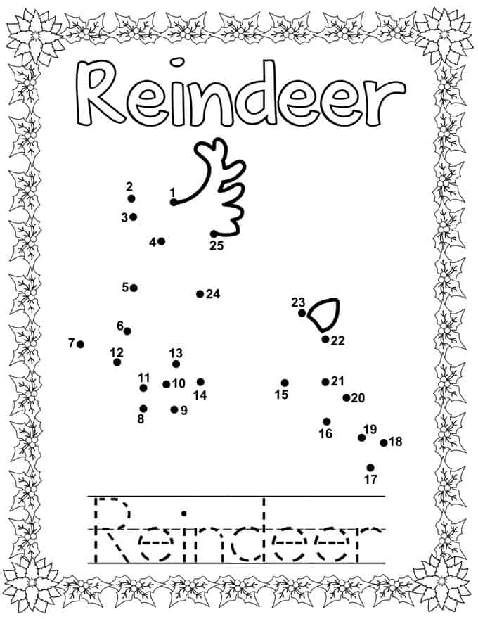Christmas Connect Dots Coloring Book -reindeer