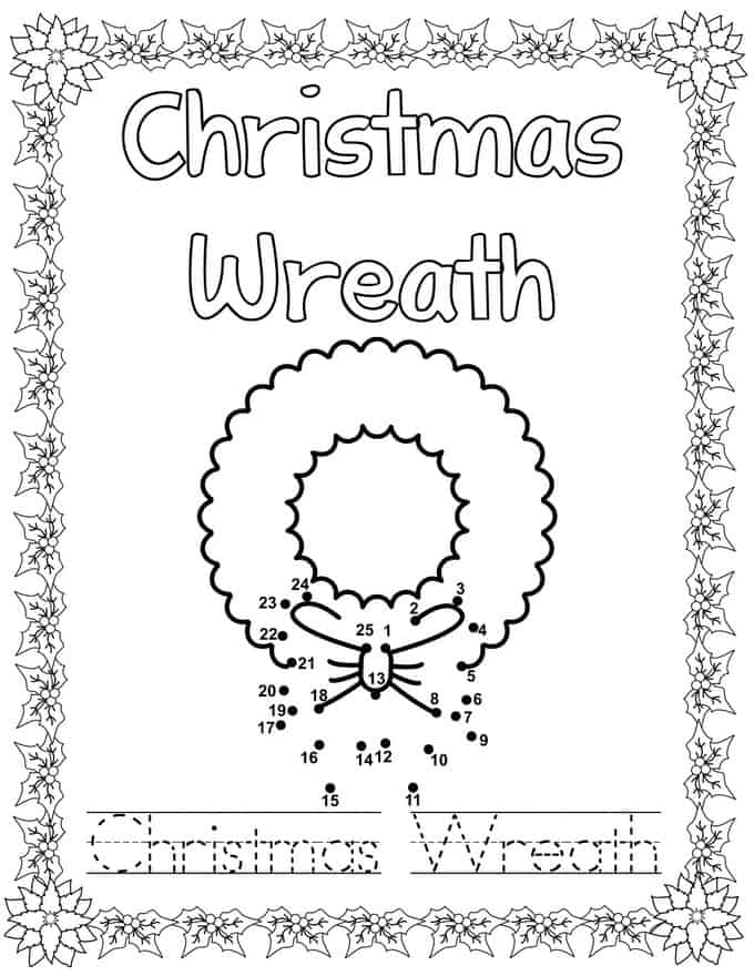 Christmas Connect Dots Coloring Book - wreath