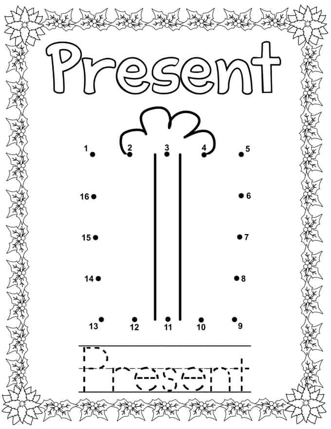 Christmas Connect Dots Coloring Book - present