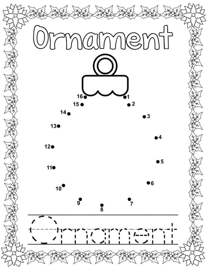 Christmas Connect Dots Coloring Book - ornament