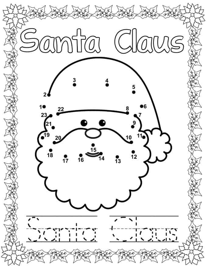 Christmas Connect Dots Coloring Book - santa