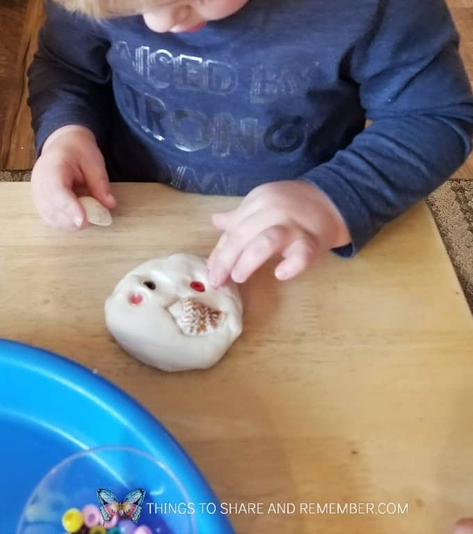 Factory Worker Playdough Activity - adding shell