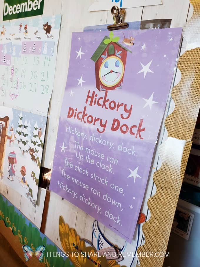 Hickory Dickory Dock nursery rhyme poster from Experience Early Learning