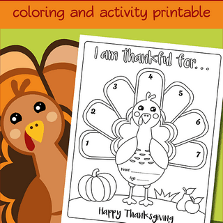 I am thankful turkey coloring page