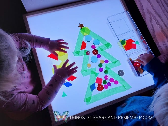 Light Table Christmas Tree Activity with loose parts