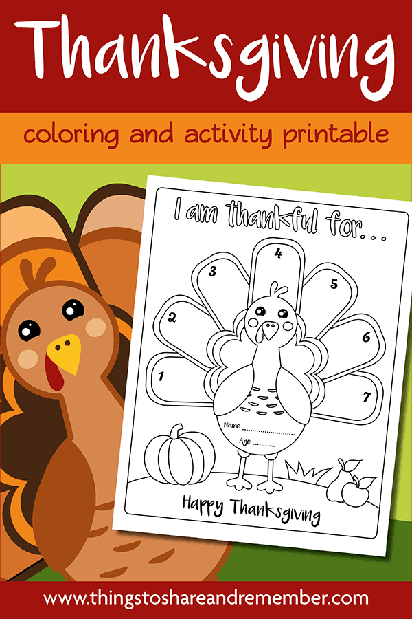 I Am Thankful Turkey Thanksgiving Printable Page