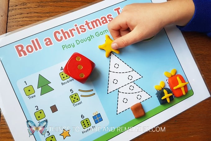 Roll A Christmas Tree Play Dough Mat Game free printable game for kids