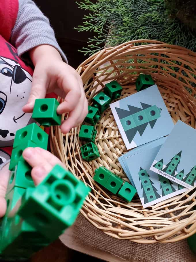 Tall Pine Tree cube cards and connecting cubes table top math preschool activity