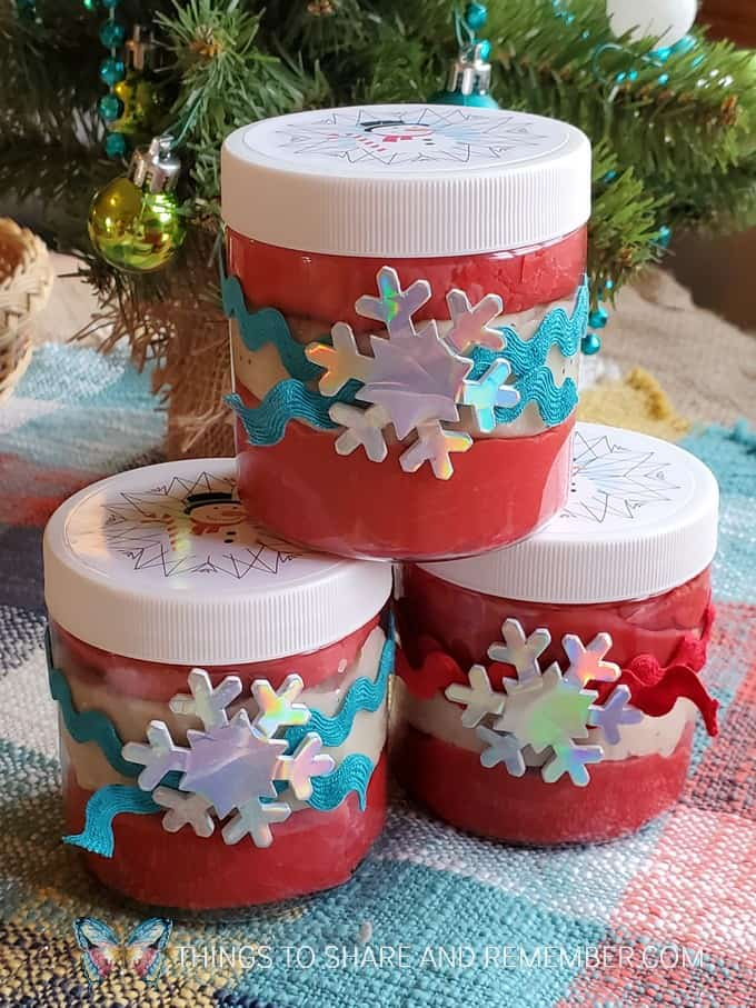 Candy Cane Play Dough Gift Jars
