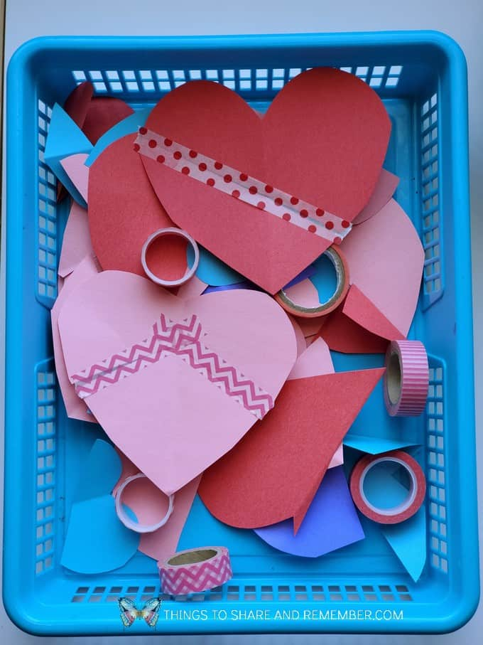 taping together heart shapes Humpty Dumpty Nursery Rhyme Activities